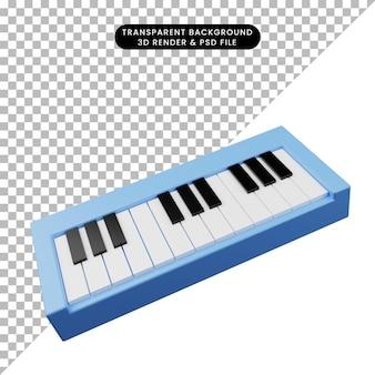 3d ilustracja prostego obiektu instrument muzyczny fortepian