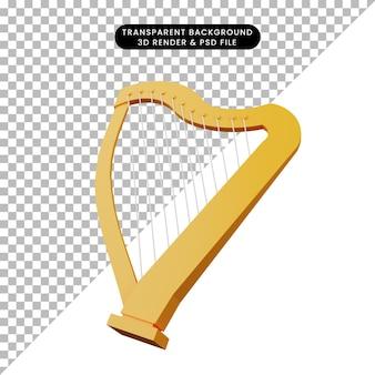 3d ilustracja prostego obiektu instrument muzyczny harfa
