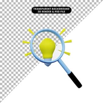 3d ilustracja prostego obiektu powiększającego strzał do żarówki