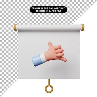 3d ilustracja prostego obiektu prezentacji tablicy widok z przodu z symbolem połączenia ręcznego