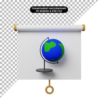 3d ilustracja prostego obiektu prezentacji tablicy widok z przodu ze światem globu