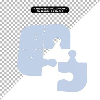 3d ilustracja prostego obiektu puzzle