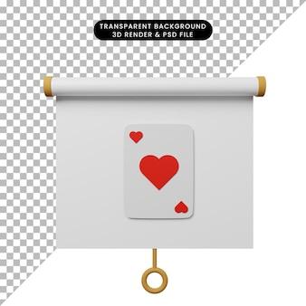 3d ilustracja prostego widoku z przodu tablicy prezentacji obiektu z sercem karty