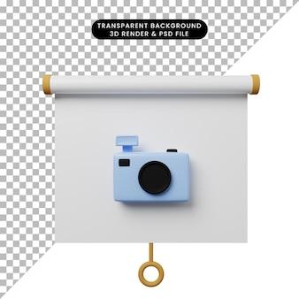 3d ilustracja prostego widoku z przodu tablicy prezentacyjnej z kamerą