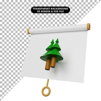 3d ilustracja prostej deski do prezentacji obiektów lekko przechylony widok z sosną