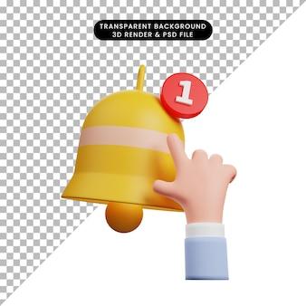 3d ilustracja prostej ikony dotknięcia dłonią ikony powiadomienia dzwonka