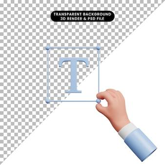 3d ilustracja prostej ikony ręki trzymającej ikonę tekstową t