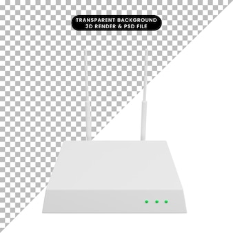 3d ilustracja prostej ikony routera