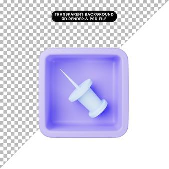 3d ilustracja prostej ikony spinacza do papieru na kostce