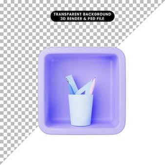 3d ilustracja prostej ikony stacjonarnej na kostce
