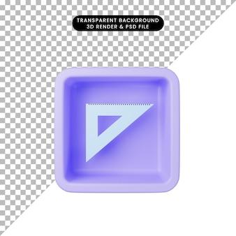 3d ilustracja prostej ikony trójkąta linijki na sześcianie