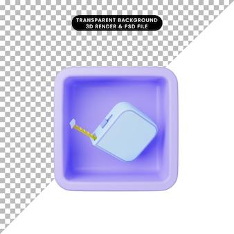 3d ilustracja prostej miary ikony na sześcianie