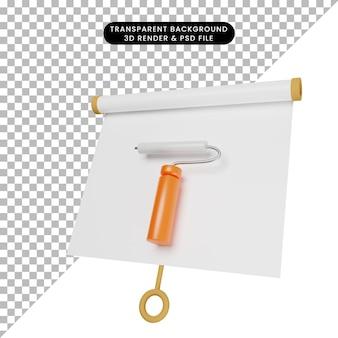 3d ilustracja prostej tablicy do prezentacji obiektów lekko przechylony widok z narzędziem do malowania ścian