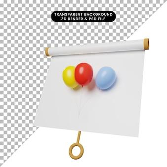 3d ilustracja prostej tablicy prezentacji obiektów lekko przechylony widok z balonem