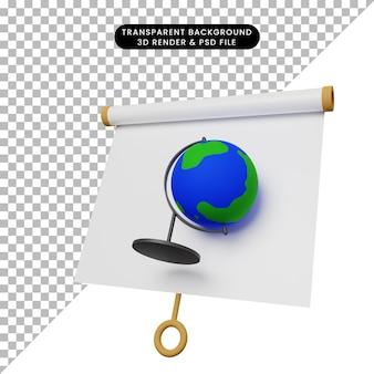 3d ilustracja prostej tablicy prezentacji obiektów lekko przechylony widok ze światem globu
