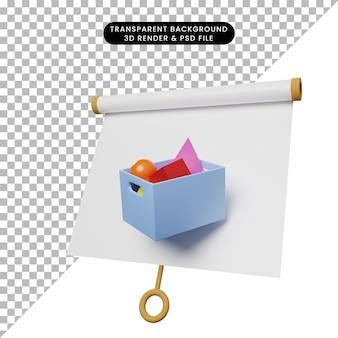 3d ilustracja prostej tablicy prezentacyjnej obiektu lekko przechylony widok z koszem