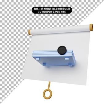 3d ilustracja prostej tablicy prezentacyjnej obiektu lekko przechylony widok z projektorem