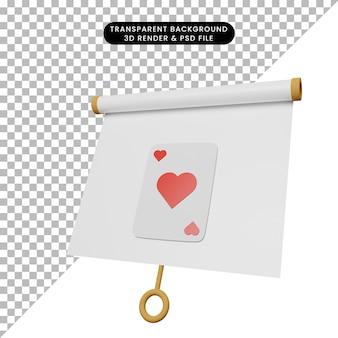 3d ilustracja prostej tablicy prezentacyjnej obiektu lekko przechylony widok z sercem karty