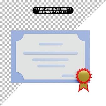 3d ilustracja prosty certyfikat obiektu