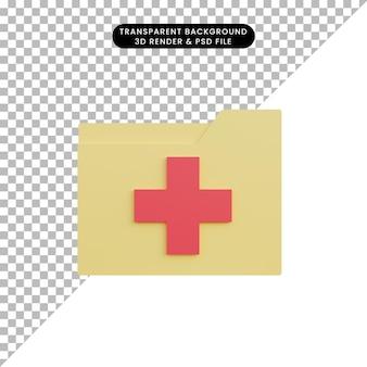 3d ilustracja prosty folder ikon z plus zdrową ikoną