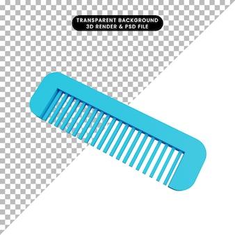 3d ilustracja prosty grzebień obiektu