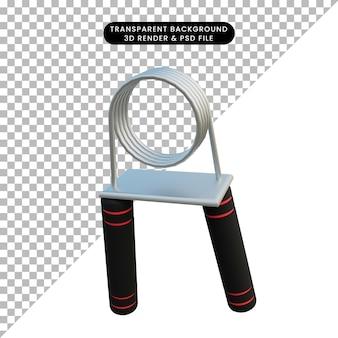 3d ilustracja prosty obiekt chwyt ręczny fitness