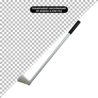 3d ilustracja prosty obiekt kij golfowy