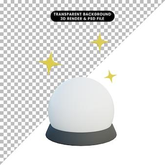 3d ilustracja prosty obiekt magiczna kula z blaskiem
