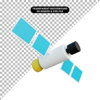 3d ilustracja prosty obiekt satelita