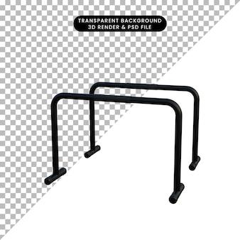 3d ilustracja prosty obiekt sportowy upadki bar