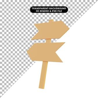 3d ilustracja prosty znak obiektu strzałka