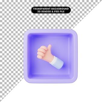 3d ilustracja prostych ikon dłoni kciuki w górę na sześcianie