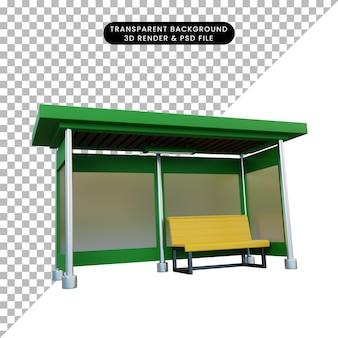 3d ilustracja przystanku autobusowego