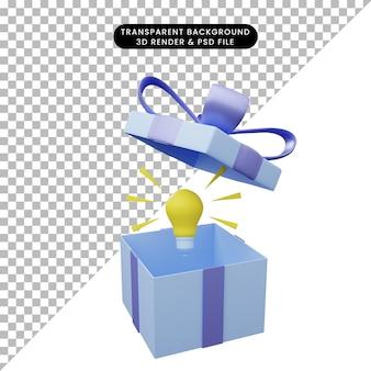 3d ilustracja pudełka na prezenty otwarte z żarówką