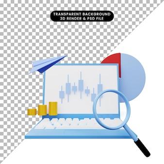 3d ilustracja raportu z analizy danych na laptopie