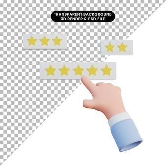 3d ilustracja ręczna ocena dotykiem gwiazdki .