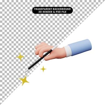 3d ilustracja ręki trzymającej magiczną różdżkę