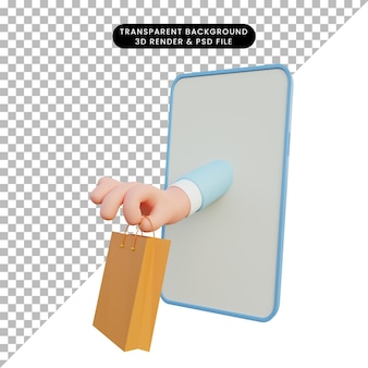 3d ilustracja ręki wychodzącej z smartphone trzymając torbę na zakupy