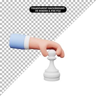 3d ilustracja ręki z pionkiem szachowym