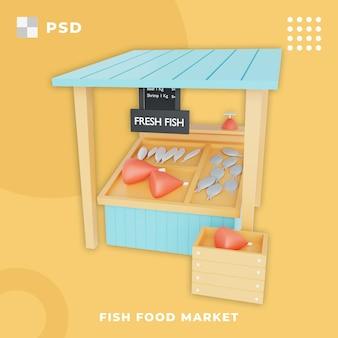 3d ilustracja rynku żywności dla ryb tradycyjnego rynku świeżych ryb