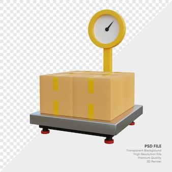 3d ilustracja skalera towarów z pudełkami