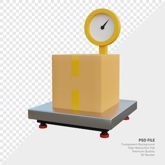 3d ilustracja skalera towarów z pudełkiem