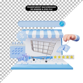 3d ilustracja sklepu internetowego na laptopie