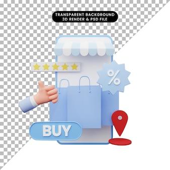 3d ilustracja sklepu internetowego
