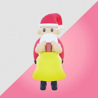 3d ilustracja słodkiego mikołaja trzymającego dzwon kościelny
