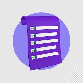 3d ilustracja sprawdzanie ikony listy kontrolnej
