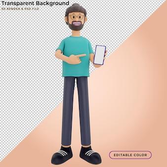 3d ilustracja stojącego mężczyzny trzymającego smartfona i pokazującego pusty ekran