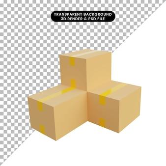 3d ilustracja stos kartonu