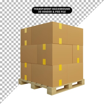 3d ilustracja stos wysyłki kartonu na palecie