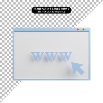 3d ilustracja strony internetowej www